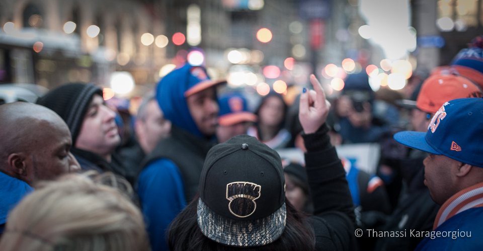 New York, Wednesday, March 19th, 2014. A small group of disgruntled Knicks fans stages a small protest outside Madison Square Garden before a home game against the Pacers, but their voices fall on deaf ears. ©Thanassi Karageorgiou
